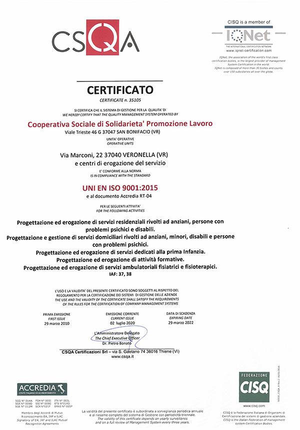 Certificati - Residenza per anziani Città di Roncade